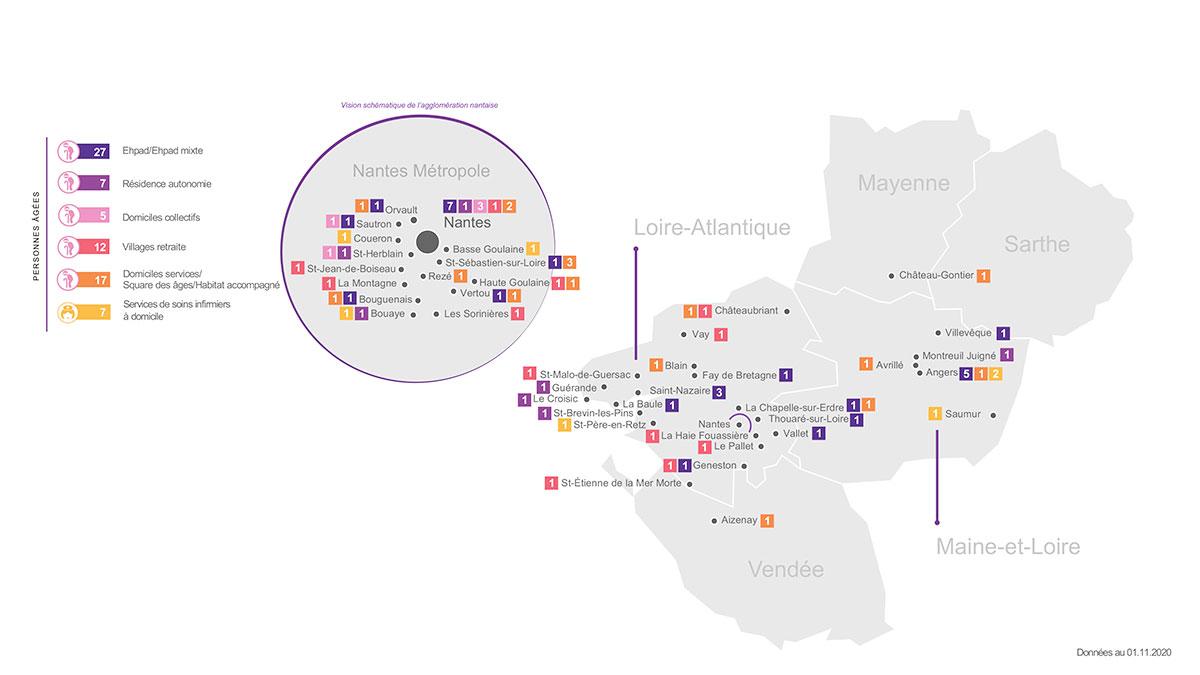 Carte des établissements - Pole PA - VYV3 Pays de la Loire